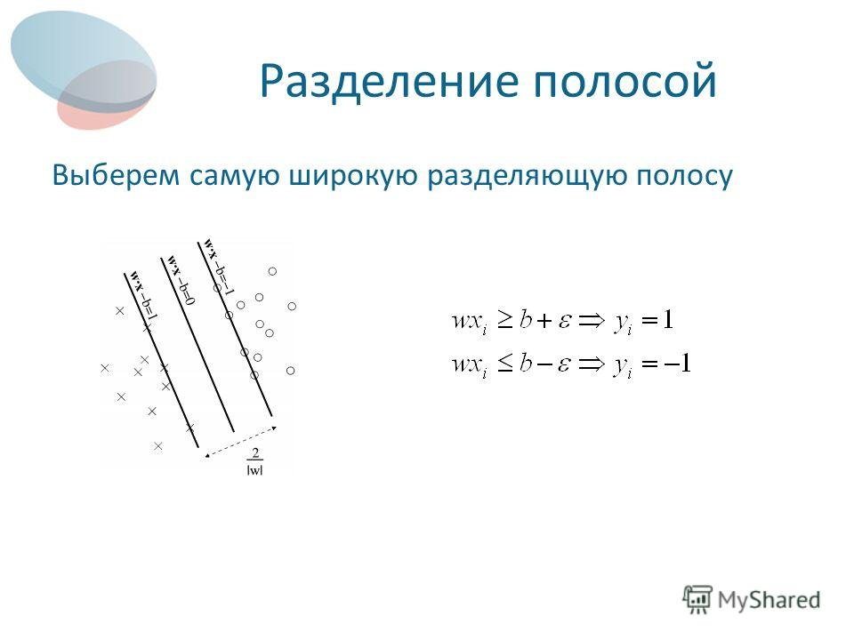 Разделение полосой Выберем самую широкую разделяющую полосу