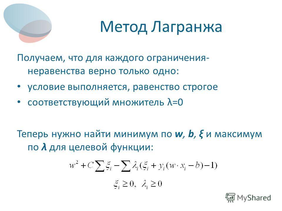 Метод Лагранжа Получаем, что для каждого ограничения- неравенства верно только одно: условие выполняется, равенство строгое соответствующий множитель λ=0 Теперь нужно найти минимум по w, b, ξ и максимум по λ для целевой функции: