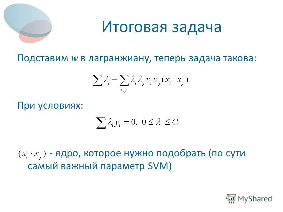 Итоговая задача Подставим w в лагранжиану, теперь задача такова: При условиях: - ядро, которое нужно подобрать (по сути самый важный параметр SVM)