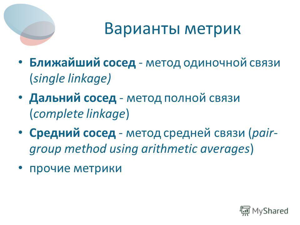 Варианты метрик Ближайший сосед - метод одиночной связи (single linkage) Дальний сосед - метод полной связи (complete linkage) Средний сосед - метод средней связи (pair- group method using arithmetic averages) прочие метрики