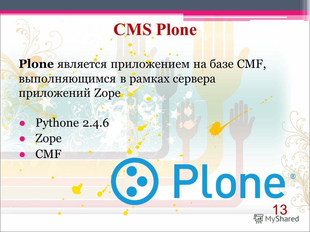 Plone является приложением на базе CMF, выполняющимся в рамках сервера приложений Zope Pythone 2.4.6 Zope CMF 13 CMS Plone