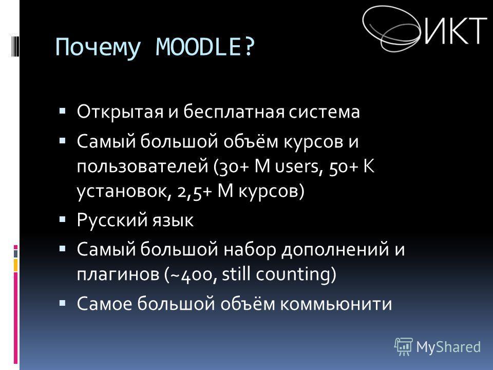 Почему MOODLE? Открытая и бесплатная система Самый большой объём курсов и пользователей (30+ M users, 50+ K установок, 2,5+ M курсов) Русский язык Самый большой набор дополнений и плагинов (~400, still counting) Самое большой объём коммьюнити