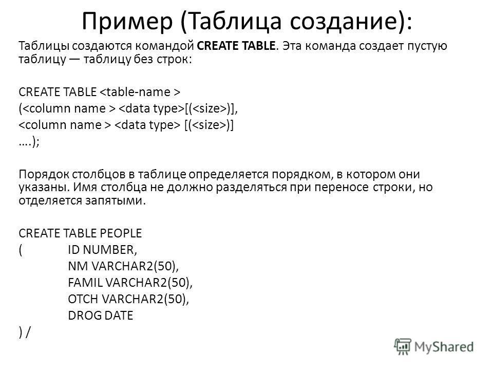Пример (Таблица создание): Таблицы создаются командой CREATE TABLE. Эта команда создает пустую таблицу таблицу без строк: CREATE TABLE ( [( )], [( )] ….); Порядок столбцов в таблице определяется порядком, в котором они указаны. Имя столбца не должно