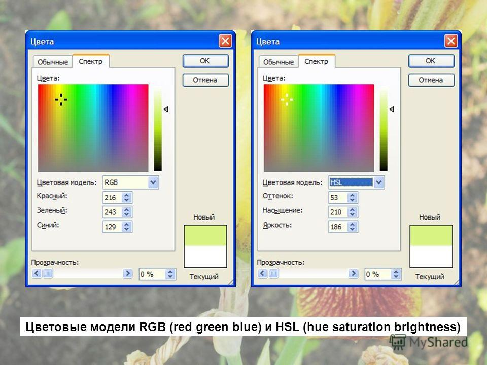 Цветовые модели RGB (red green blue) и HSL (hue saturation brightness)
