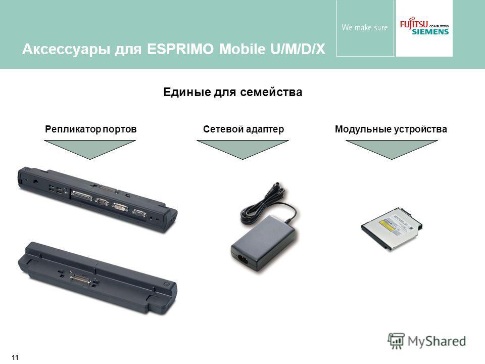 11 Аксессуары для ESPRIMO Mobile U/M/D/X Единые для семейства Репликатор портов Сетевой адаптер Модульные устройства