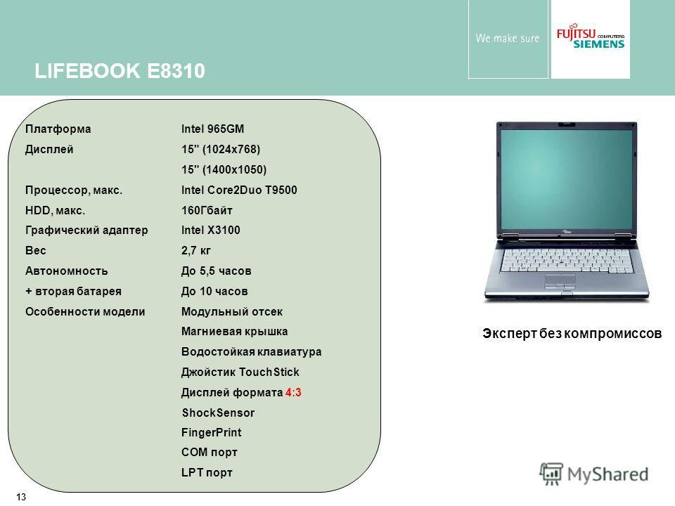 13 LIFEBOOK E8310 Эксперт без компромиссов ПлатформаIntel 965GM Дисплей15