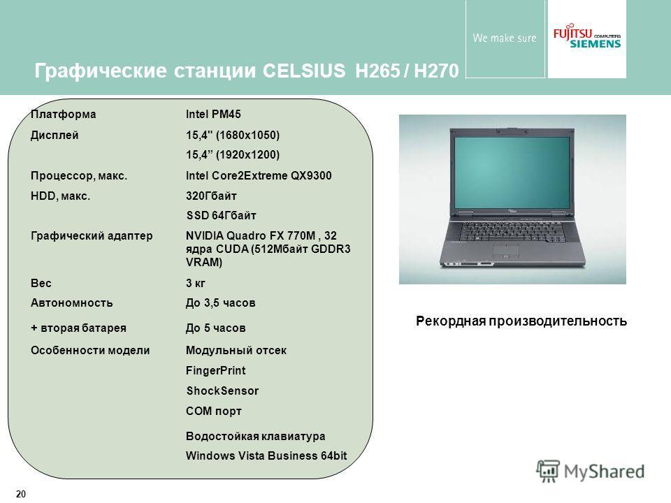 20 Графические станции CELSIUS H265 / H270 ПлатформаIntel PM45 Дисплей15,4