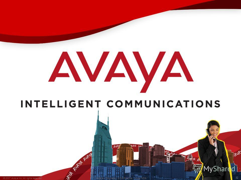 32 © 2007 Avaya Inc. All rights reserved. Avaya – Proprietary & Confidential. Under NDA 32 © 2007 Avaya Inc. All rights reserved. Avaya – Proprietary & Confidential. Under NDA