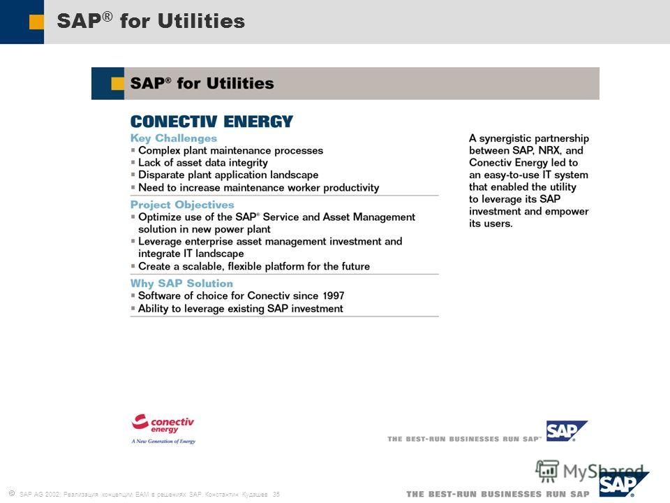 SAP AG 2002, Реализация концепции EAM в решениях SAP, Константин Кудашев 35 SAP ® for Utilities