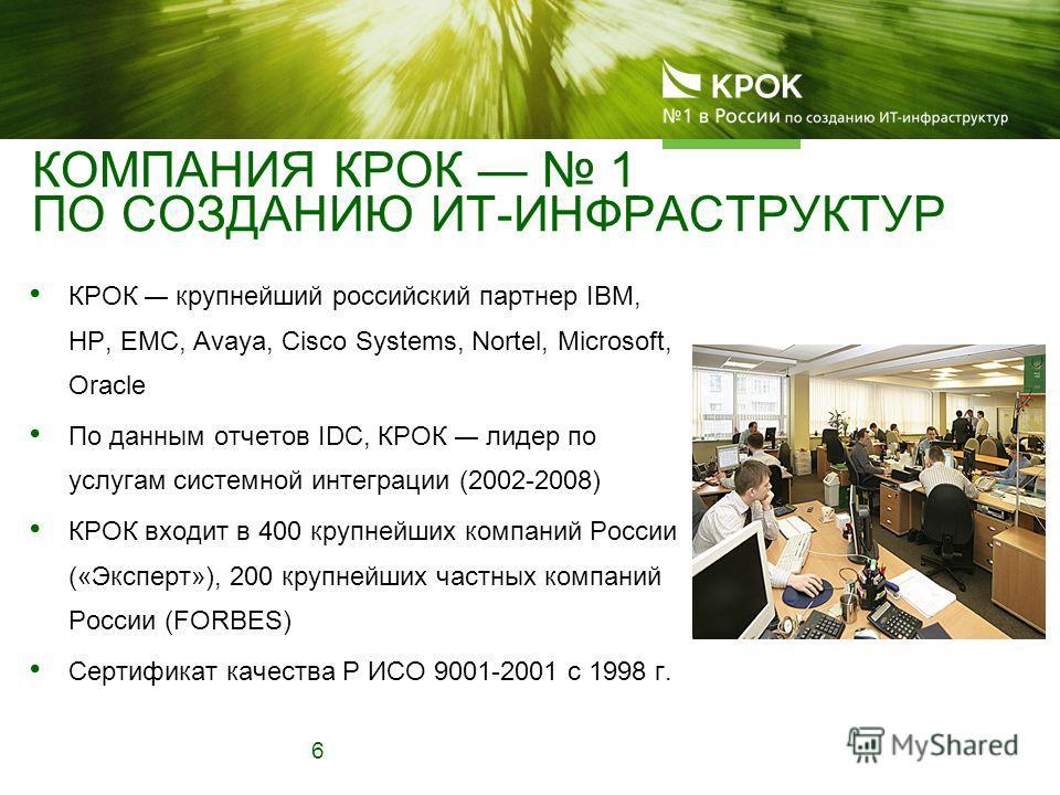 КОМПАНИЯ КРОК 1 ПО СОЗДАНИЮ ИТ-ИНФРАСТРУКТУР КРОК крупнейший российский партнер IBM, HP, EMC, Avaya, Cisco Systems, Nortel, Microsoft, Oracle По данным отчетов IDC, КРОК лидер по услугам системной интеграции (2002-2008) КРОК входит в 400 крупнейших к