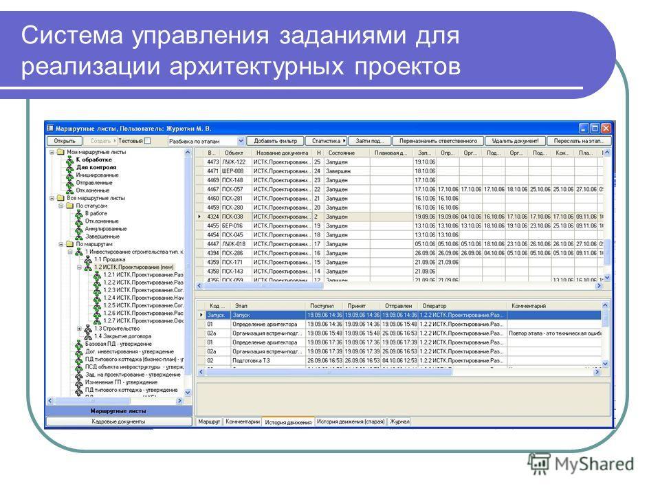 Система управления заданиями для реализации архитектурных проектов