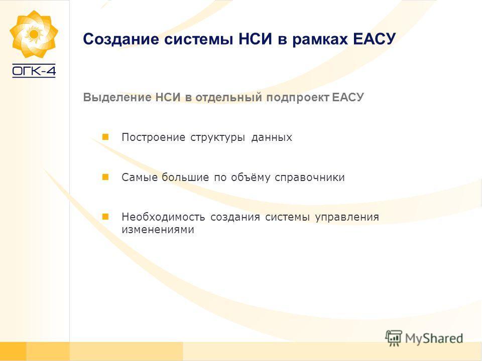 Создание системы НСИ в рамках ЕАСУ Построение структуры данных Самые большие по объёму справочники Необходимость создания системы управления изменениями Выделение НСИ в отдельный подпроект ЕАСУ