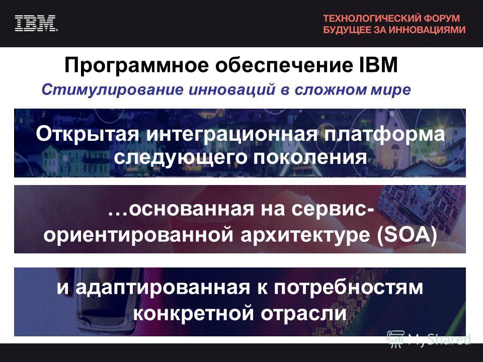 Программное обеспечение IBM Открытая интеграционная платформа следующего поколения Стимулирование инноваций в сложном мире …основанная на сервис- ориентированной архитектуре (SOA) и адаптированная к потребностям конкретной отрасли