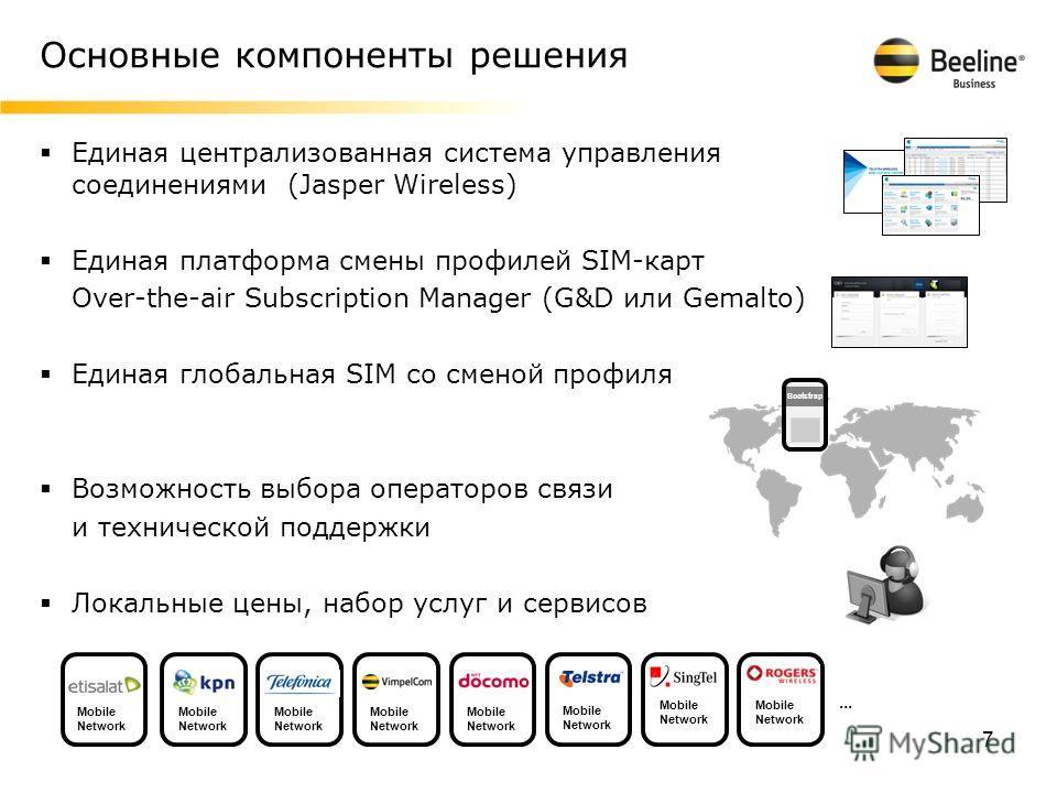 Основные компоненты решения 7 Единая централизованная система управления соединениями (Jasper Wireless) Единая платформа смены профилей SIM-карт Over-the-air Subscription Manager (G&D или Gemalto) Единая глобальная SIM со сменой профиля Возможность в