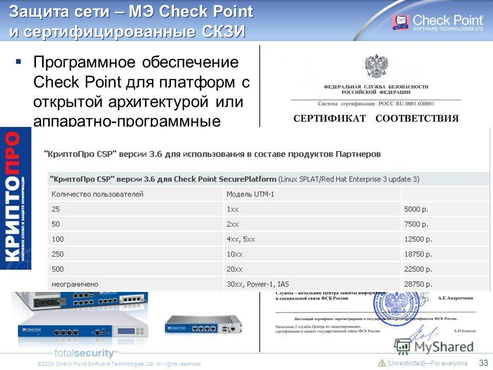 33 [Unrestricted]For everyone ©2009 Check Point Software Technologies Ltd. All rights reserved. Защита сети – МЭ Check Point и сертифицированные СКЗИ Программное обеспечение Check Point для платформ с открытой архитектурой или аппаратно-программные к