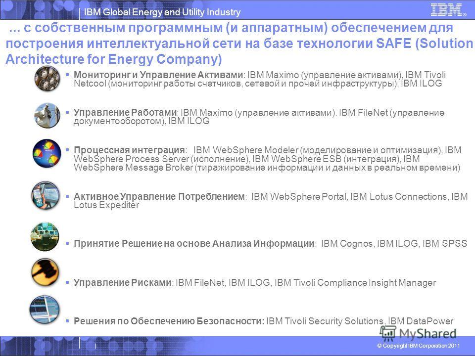 IBM Global Energy and Utility Industry © Copyright IBM Corporation 2011 | Мониторинг и Управление Активами: IBM Maximo (управление активами), IBM Tivoli Netcool (мониторинг работы счетчиков, сетевой и прочей инфраструктуры), IBM ILOG Управление Работ