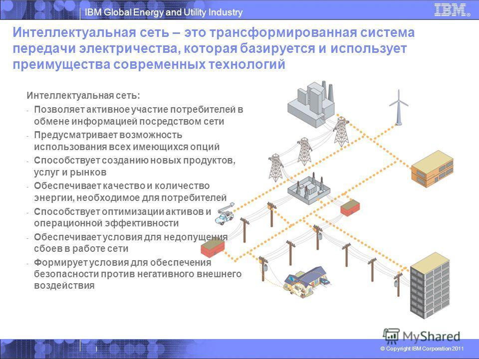 IBM Global Energy and Utility Industry © Copyright IBM Corporation 2011 | Интеллектуальная сеть – это трансформированная система передачи электричества, которая базируется и использует преимущества современных технологий Интеллектуальная сеть: - Позв