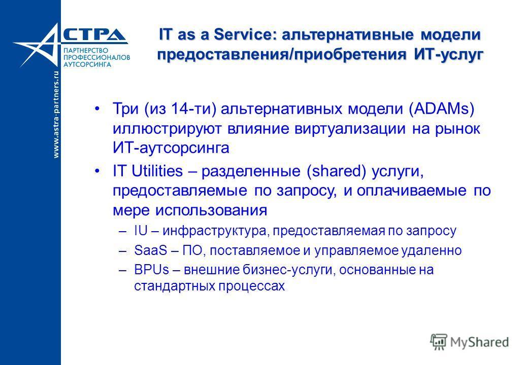 IT as a Service: альтернативные модели предоставления/приобретения ИТ-услуг Три (из 14-ти) альтернативных модели (ADAMs) иллюстрируют влияние виртуализации на рынок ИТ-аутсорсинга IT Utilities – разделенные (shared) услуги, предоставляемые по запросу