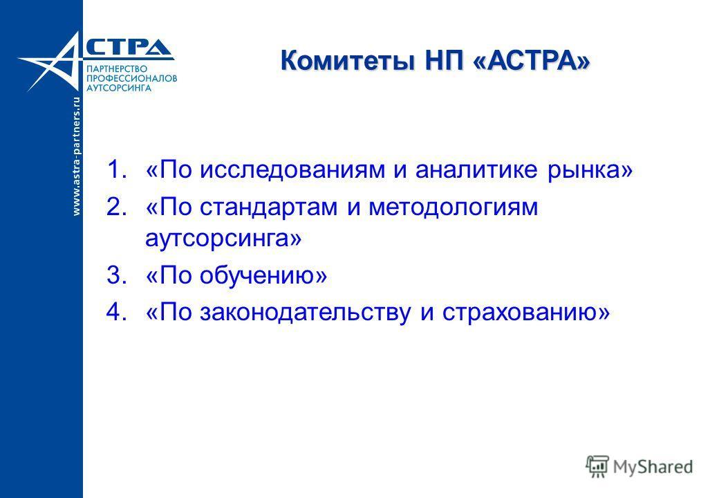 Комитеты НП «АСТРА» 1.«По исследованиям и аналитике рынка» 2.«По стандартам и методологиям аутсорсинга» 3.«По обучению» 4.«По законодательству и страхованию»