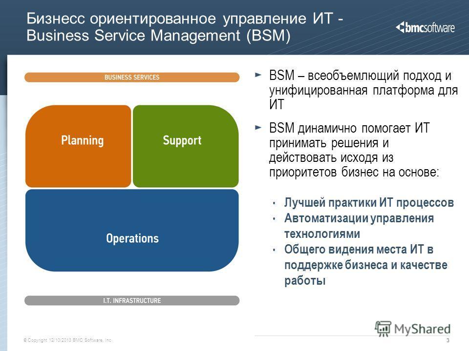 © Copyright 12/10/2013 BMC Software, Inc 3 Бизнесс ориентированное управление ИТ - Business Service Management (BSM) BSM – всеобъемлющий подход и унифицированная платформа для ИТ BSM динамично помогает ИТ принимать решения и действовать исходя из при