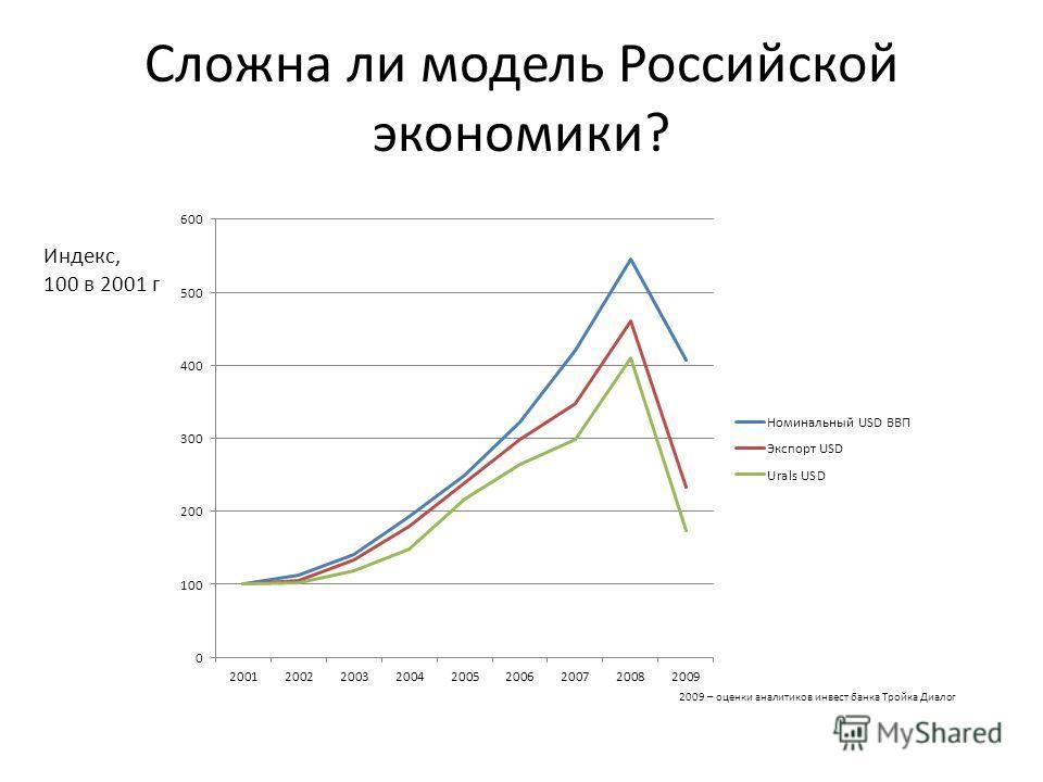 Сложна ли модель Российской экономики? Индекс, 100 в 2001 г 2009 – оценки аналитиков инвест банка Тройка Диалог