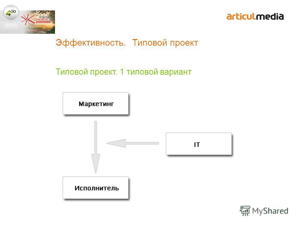 Эффективность. Типовой проект Типовой проект. 1 типовой вариант