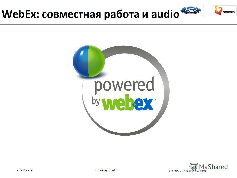 WebEx: совместная работа и audio ikovalev v1 200 days OoO.pptx 2 июня 2012 Страница 5 of 8