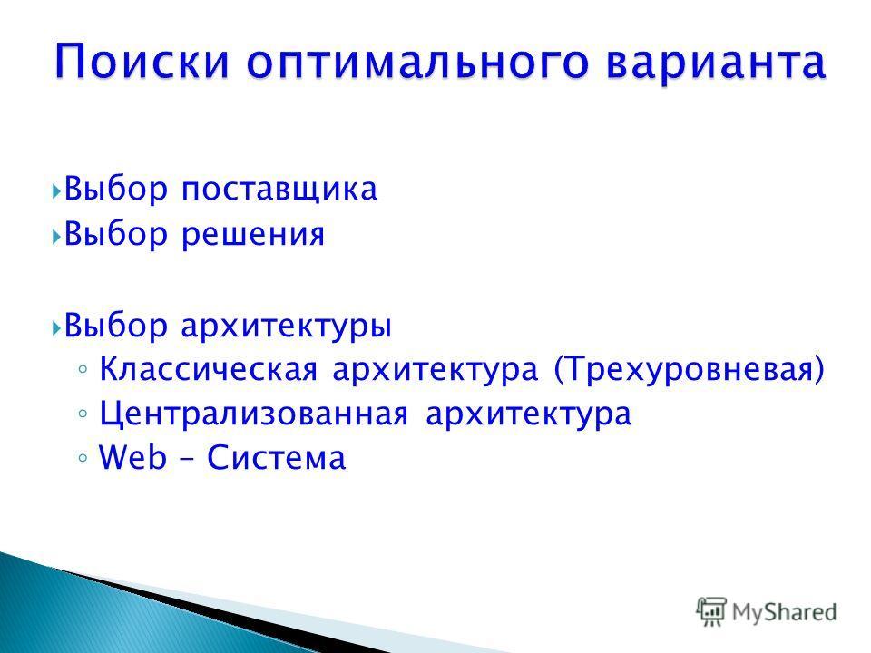 Выбор поставщика Выбор решения Выбор архитектуры Классическая архитектура (Трехуровневая) Централизованная архитектура Web – Система