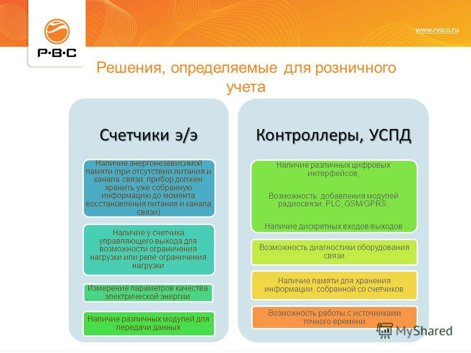 www.rvsco.ru Счетчики э/э Наличие энергонезависимой памяти (при отсутствии питания и канала связи, прибор должен хранить уже собранную информацию до момента восстановления питания и канала связи) Наличие у счетчика управляющего выхода для возможности