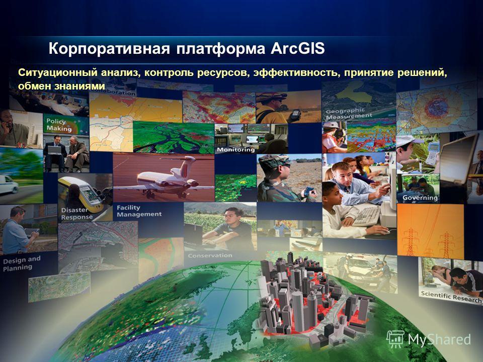 Корпоративная платформа ArcGIS Ситуационный анализ, контроль ресурсов, эффективность, принятие решений, обмен знаниями