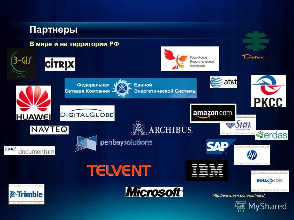 Партнеры В мире и на территории РФ http://www.esri.com/partners/