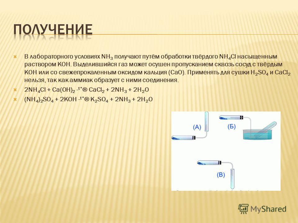 В лабораторного условиях NH 3 получают путём обработки твёрдого NH 4 Cl насыщенным раствором КОН. Выделившийся газ может осушен пропусканием сквозь сосуд с твёрдым КОН или со свежепрокаленным оксидом кальция (СаО). Применять для сушки H 2 SO 4 и CaCl