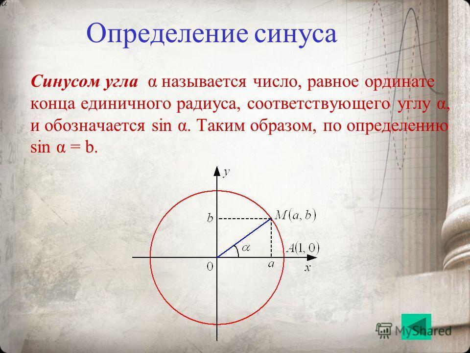 Определение синуса Синусом угла α называется число, равное ординате конца единичного радиуса, соответствующего углу α, и обозначается sin α. Таким образом, по определению sin α = b.
