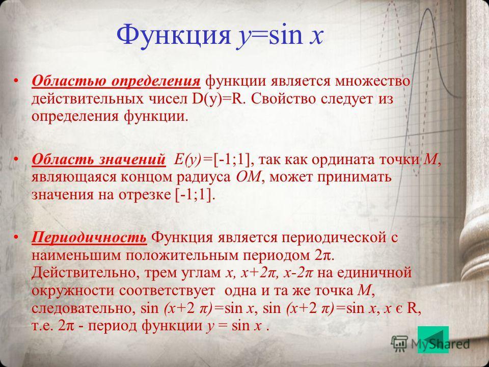 Функция y=sin x Областью определения функции является множество действительных чисел D(y)=R. Свойство следует из определения функции. Область значений E(y)=[-1;1], так как ордината точки M, являющаяся концом радиуса OM, может принимать значения на от