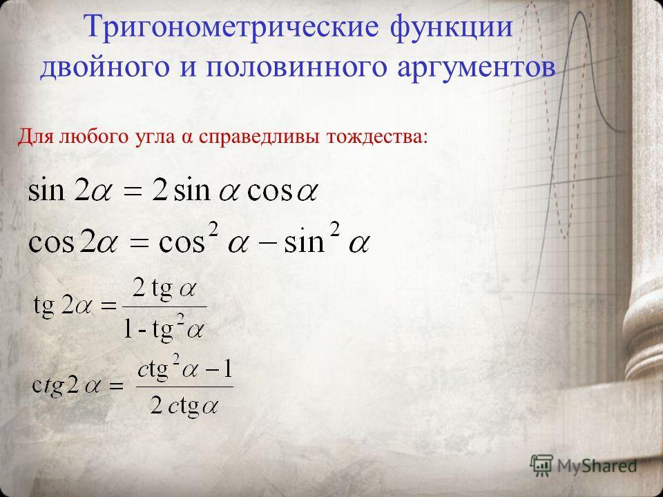 Тригонометрические функции двойного и половинного аргументов Для любого угла α справедливы тождества: