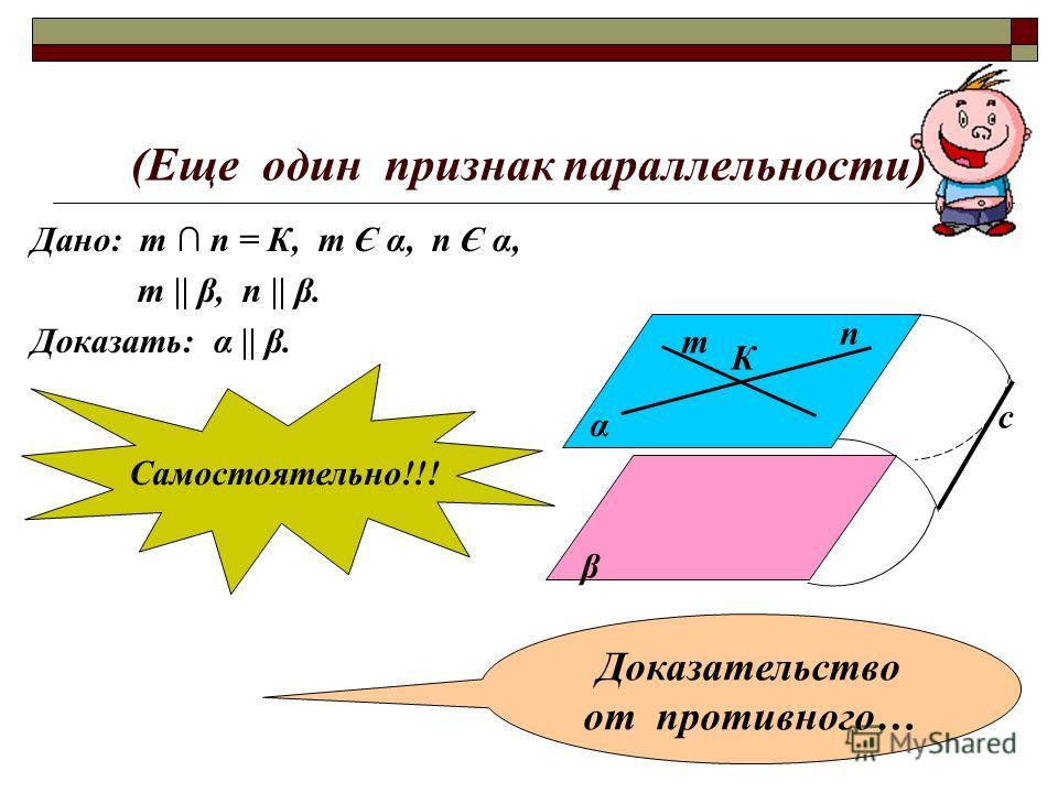 (Еще один признак параллельности) Дано: т п = К, т Є α, п Є α, т || β, п || β. Доказать: α || β. α β т п К с Самостоятельно!!! Доказательство от противного…
