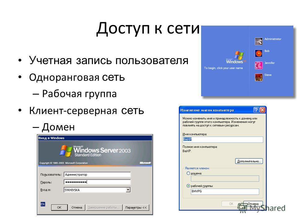 Доступ к сети Учетная запись пользователя Одноранговая сеть – Рабочая группа Клиент-серверная сеть – Домен