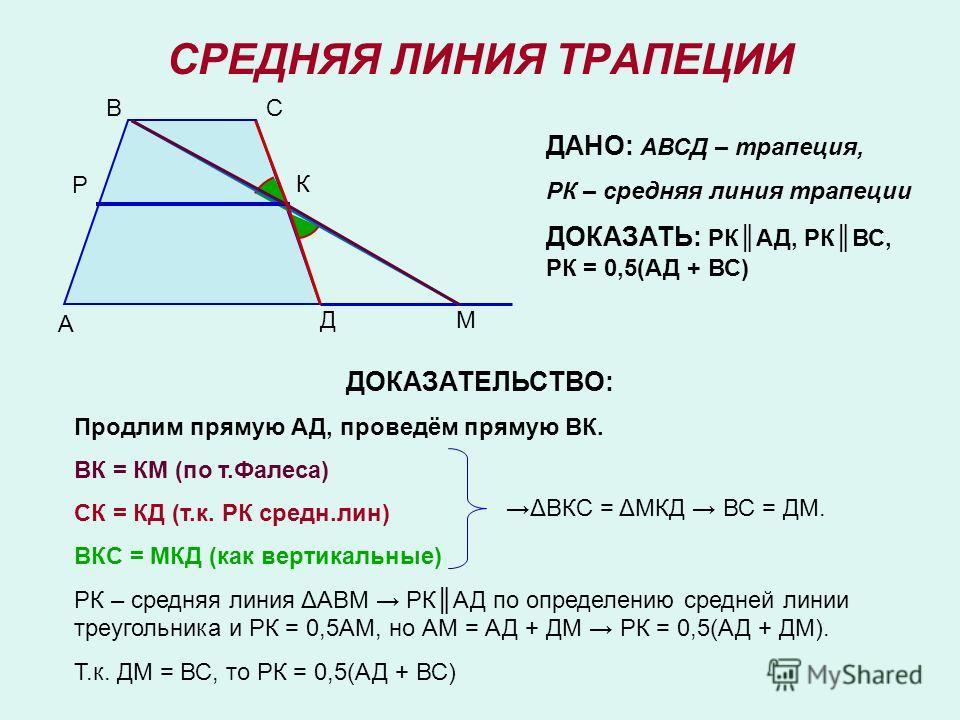 СРЕДНЯЯ ЛИНИЯ ТРАПЕЦИИ А ВС Д К М ДАНО: АВСД – трапеция, РК – средняя линия трапеции ДОКАЗАТЬ: РКАД, РКВС, РК = 0,5(АД + ВС) ДОКАЗАТЕЛЬСТВО: Продлим прямую АД, проведём прямую ВК. ВК = КМ (по т.Фалеса) СК = КД (т.к. РК средн.лин) ВКС = МКД (как верти