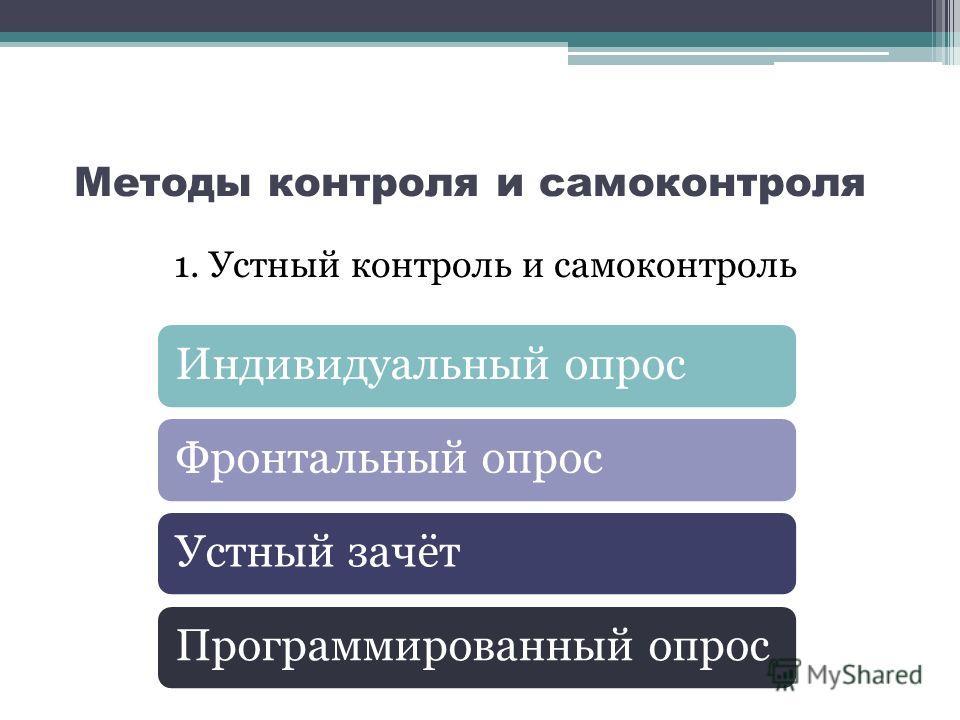 Методы контроля и самоконтроля 1. Устный контроль и самоконтроль Индивидуальный опросФронтальный опросУстный зачётПрограммированный опрос