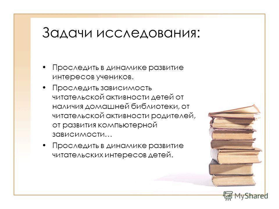 Задачи исследования: Проследить в динамике развитие интересов учеников. Проследить зависимость читательской активности детей от наличия домашней библиотеки, от читательской активности родителей, от развития компьютерной зависимости… Проследить в дина