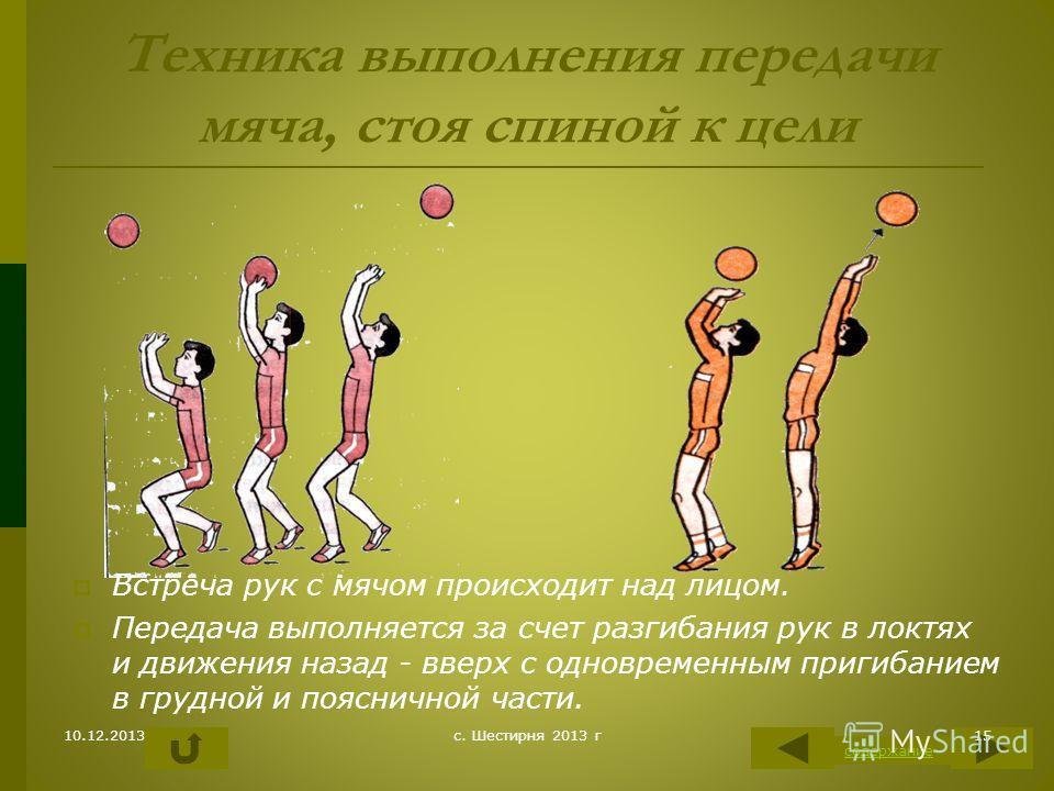Техника выполнения передачи мяча, стоя спиной к цели Встреча рук с мячом происходит над лицом. Передача выполняется за счет разгибания рук в локтях и движения назад - вверх с одновременным пригибанием в грудной и поясничной части. содержание 10.12.20