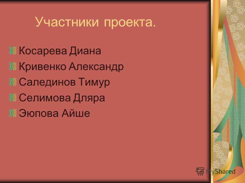Участники проекта. Косарева Диана Кривенко Александр Салединов Тимур Селимова Дляра Эюпова Айше
