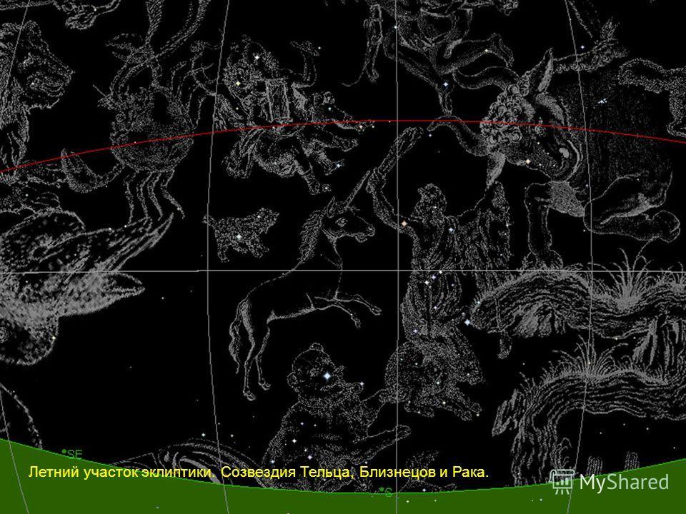Летний участок эклиптики. Созвездия Тельца, Близнецов и Рака.