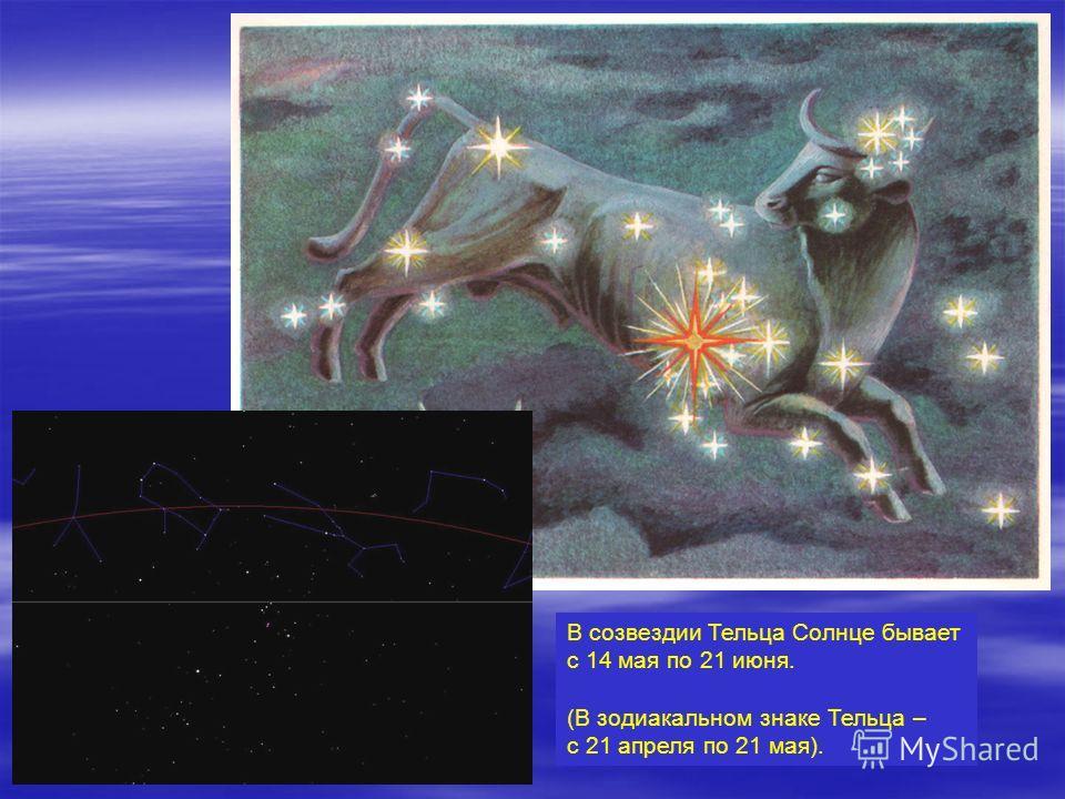 В созвездии Тельца Солнце бывает с 14 мая по 21 июня. (В зодиакальном знаке Тельца – с 21 апреля по 21 мая).