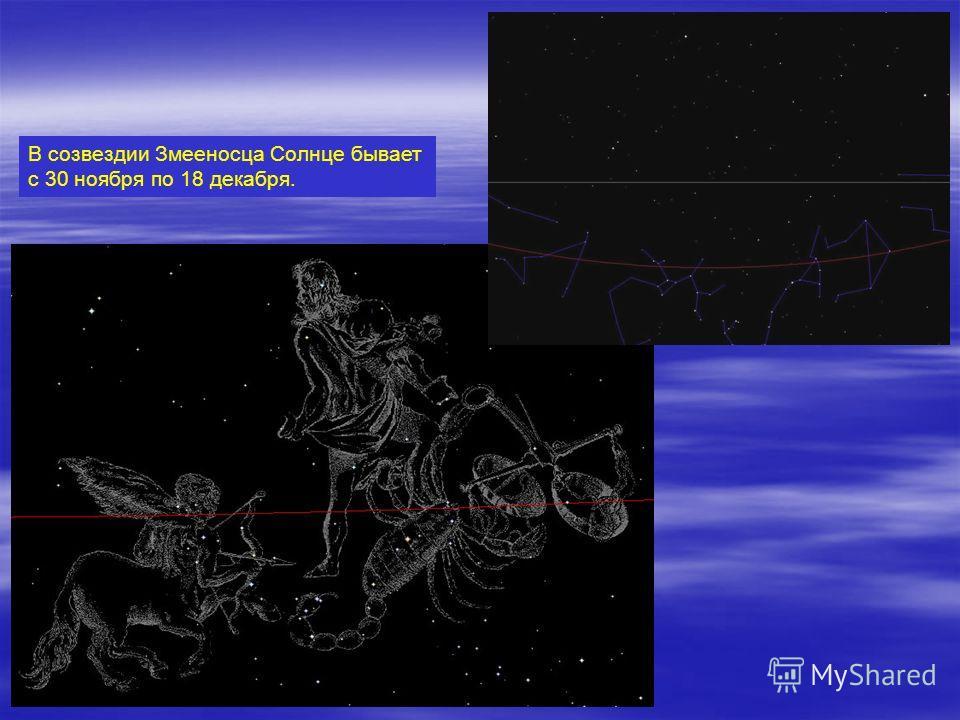В созвездии Змееносца Солнце бывает с 30 ноября по 18 декабря.