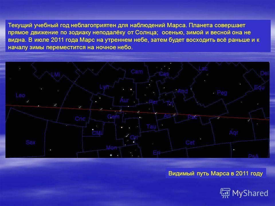 Текущий учебный год неблагоприятен для наблюдений Марса. Планета совершает прямое движение по зодиаку неподалёку от Солнца; осенью, зимой и весной она не видна. В июле 2011 года Марс на утреннем небе, затем будет восходить всё раньше и к началу зимы