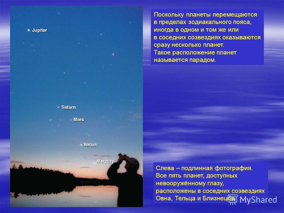 Поскольку планеты перемещаются в пределах зодиакального пояса, иногда в одном и том же или в соседних созвездиях оказываются сразу несколько планет. Такое расположение планет называется парадом. Слева – подлинная фотография. Все пять планет, доступны