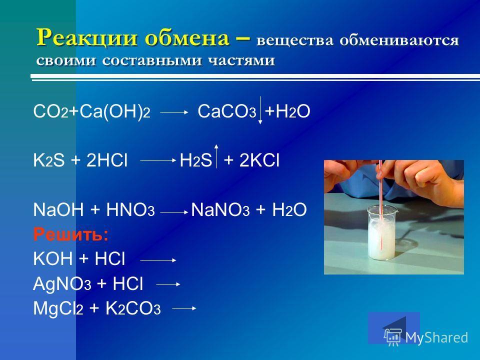 Реакции обмена – вещества обмениваются своими составными частями CO 2 +Ca(OH) 2 CaCO 3 +H 2 O K 2 S + 2HCl H 2 S + 2KCl NaOH + HNO 3 NaNO 3 + H 2 O Решить: KOH + HCl AgNO 3 + HCl MgCl 2 + K 2 CO 3