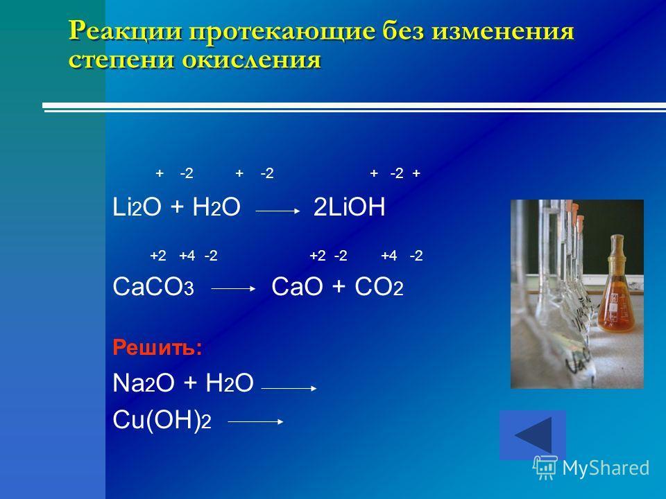Реакции протекающие без изменения степени окисления + -2 + -2 + -2 + Li 2 O + H 2 O 2LiOH +2 +4 -2 +2 -2 +4 -2 CaCO 3 CaO + CO 2 Решить: Na 2 O + H 2 O Cu(OH) 2