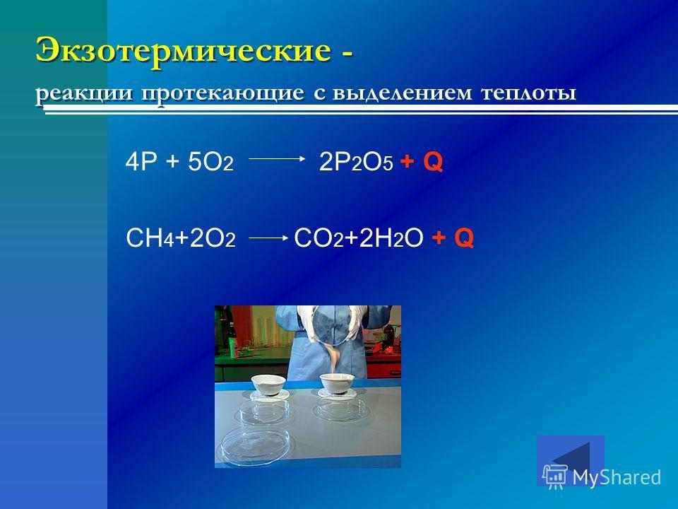 Экзотермические - реакции протекающие с выделением теплоты 4P + 5O 2 2P 2 O 5 + Q CH 4 +2O 2 CO 2 +2H 2 O + Q